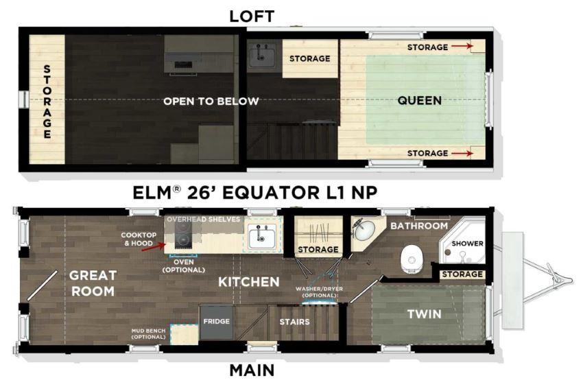 Tumbleweed's Elm Equator 26' floor plan, showing ground and loft floors.