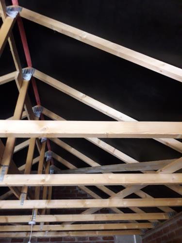 The timber structure supporting a garage/office roof for a gabel roof.