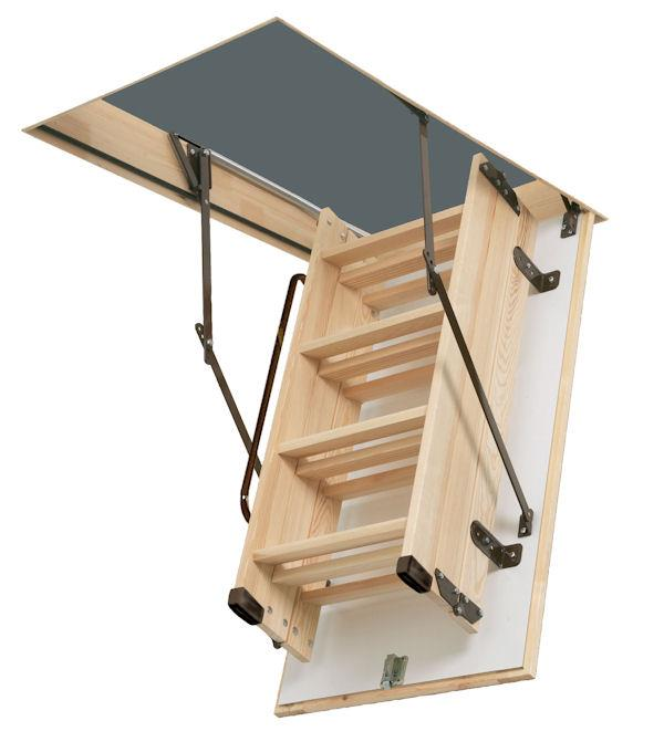 A timber loft ladder which is attached to the hatch itself, saving valuable room in the loft, from Browns Ladders.