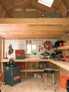 Inside look at Tuff Shed's 'man cave' shed/office with a good amount of storage available in the loft.